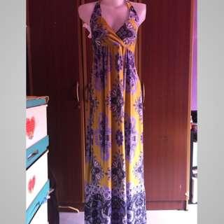 Long Dress Corak Yellow