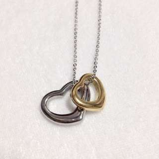 Two-Tone Heart Pendant Stainless Steel Necklace