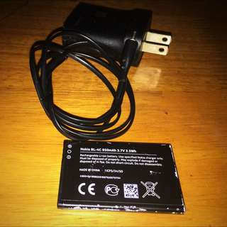 Original Nokia Small Pin Charger And BL-4C Battery