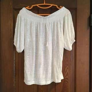 Club Monaco White Off Shoulder Shirt