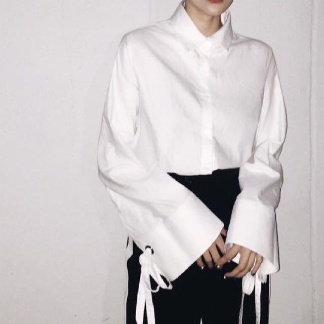 袖緞帶棉加長襯衫