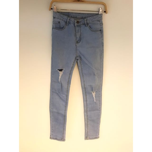 高腰牛仔褲 牛仔長褲 小腳牛仔褲 破褲