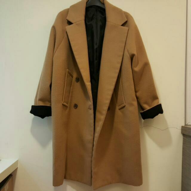 二手 冬季 正韓 有標 反摺撞色毛呢長版大衣.外套 駝色黑色