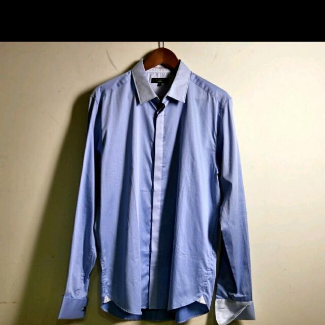 英國品牌 Ted Baker 藍色 素面 紳士襯衫 長袖襯衫 土耳其製