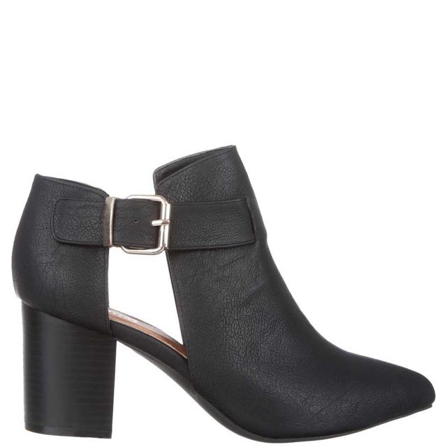 [PRICE REDUCED] Black Faux Leather cut out boots