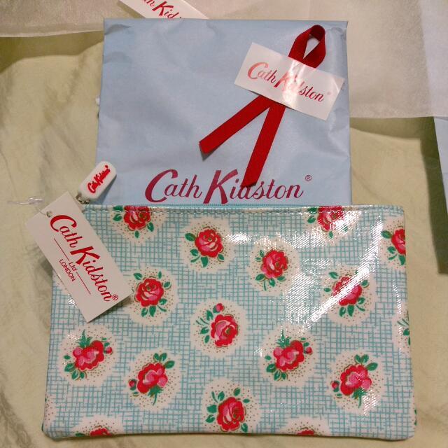 Cath Kidston 花 筆袋 收納袋 紅 藍 各一