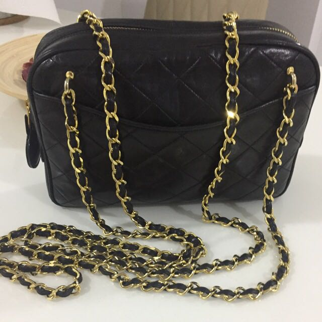 0ef932c81455 Sold ) CHANEL Double Gold Chain Camera Tote Bag. Lovely Vintage ...