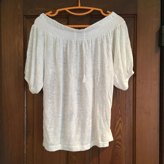 Club Monaco White Off Shoulder Shirt