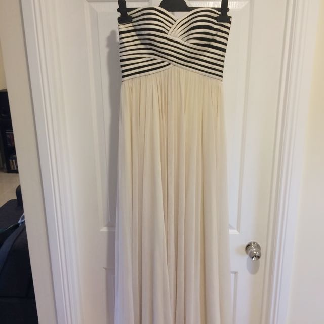 Cream Dress With Stripes On Bust