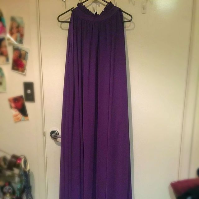 New Dark Purple Chiffon Dress