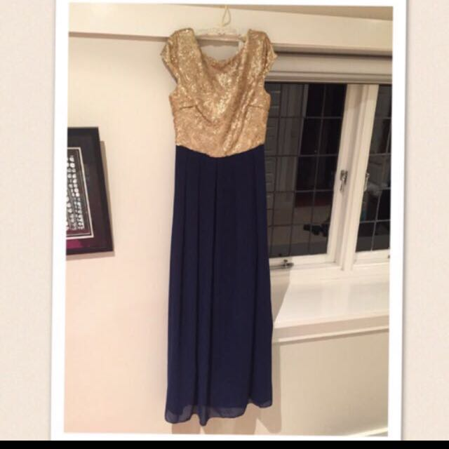 Gold And Navy Formal Dress Size 8