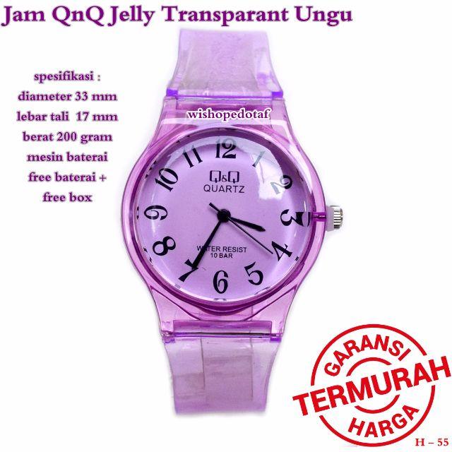 jam tangan wanita QNQ jelly transparan ungu full set, Women's Fashion, Women's Watches on Carousell