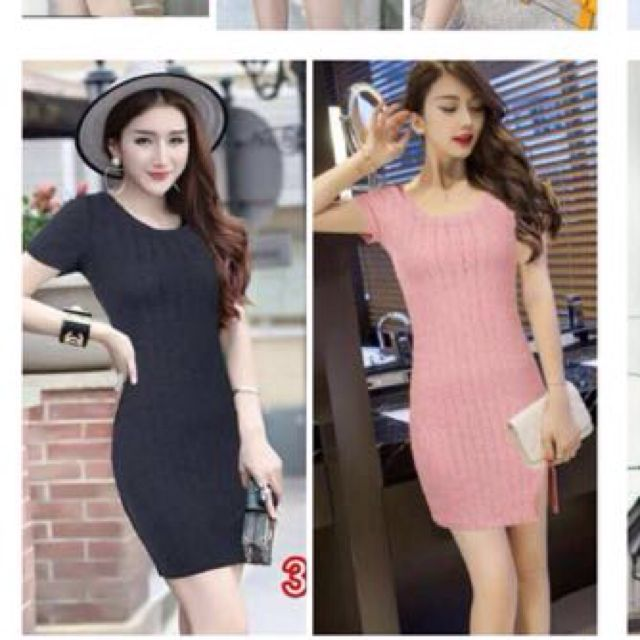 Knitted Body Fit Dress With Slit Free Shipping In manila