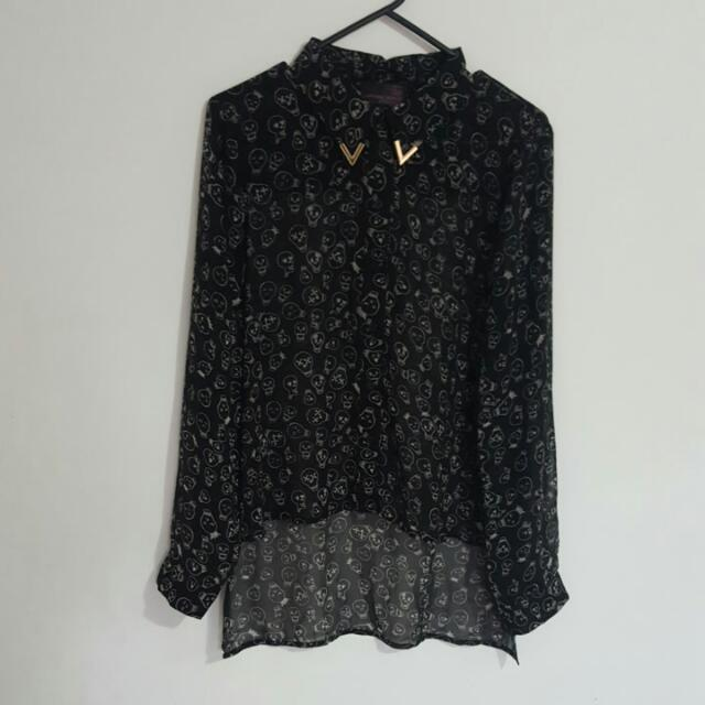 Material World: Myer Black Skull Shirt Top