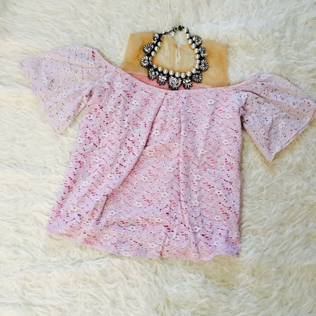 Pink Lace Brukat Top