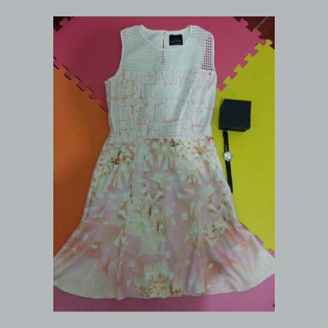 Plain And Prints Pink Dress