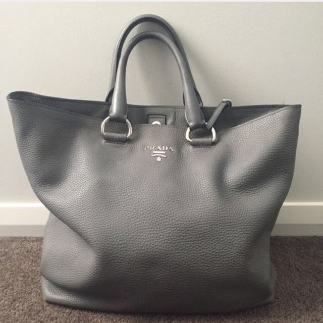 PRADA Vitello Daino Side Zip Leather Tote
