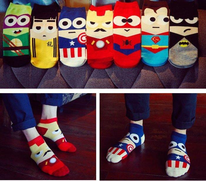 超Q超萌超人卡通襪 正義的化身 男生女生短襪 全棉潮襪 超級英雄 情人襪男女朋友襪 湊一對超可愛 特價$59