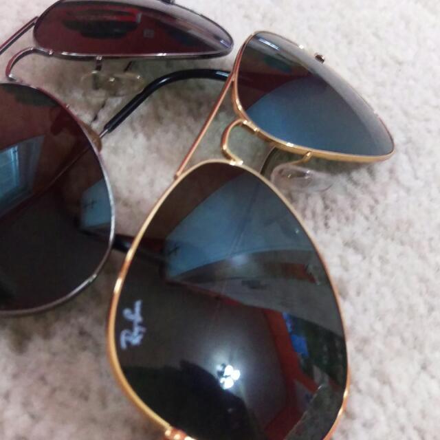 RayBan Large Gold Frame Sunglasses