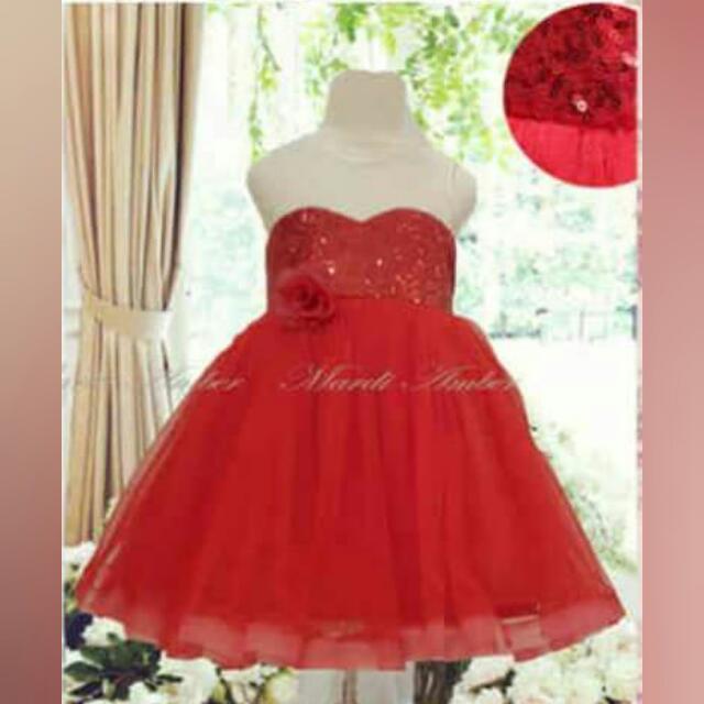 Preloved Red Dress (Size 110)