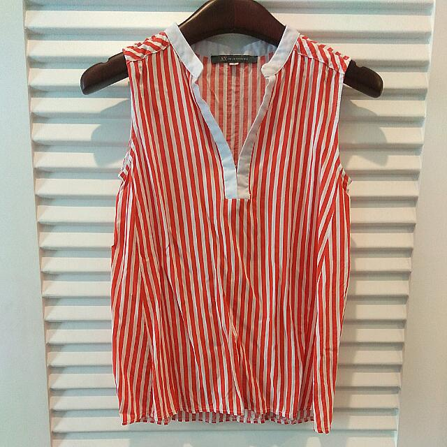 Red Stripes Sleeveless Tops S