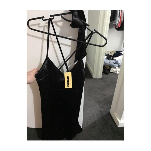 Reverse Slip Dress With Neck Tie