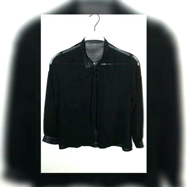 See through black long sleeves