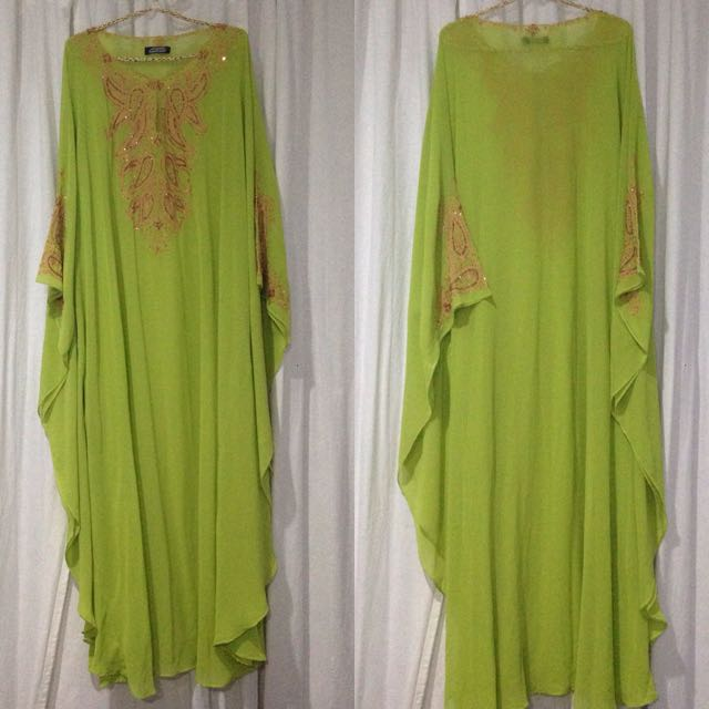 Shiffon Green Lime Kaftan