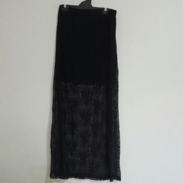 SPORTSGIRL Black Lace Skirt