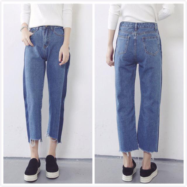 S-XL 顯瘦拼接色高腰男友褲