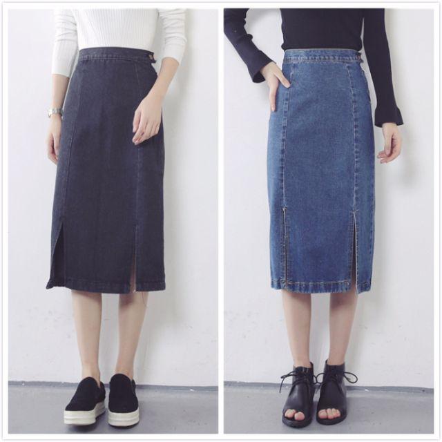 S-XL 兩色開衩七分長裙