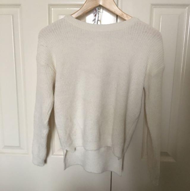 White Knitted Crop Jumper