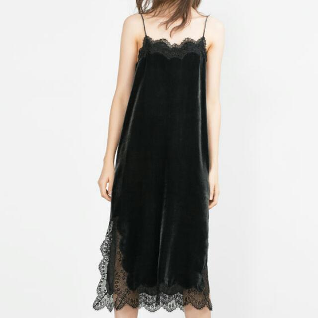 ZARA Studio Silk Velvet Dress Lingerie Style Size M REF 8187/728