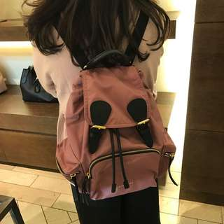 Burberry Rucksack In Technical Nylon And Leather Medium Backpack