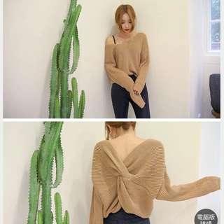 韓版寬鬆露背針織