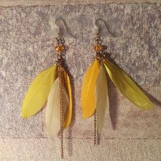 台灣手造黃色羽毛耳環