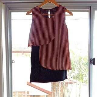 Bodycon Dress With Chiffon Overlay