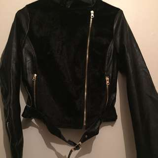 Black Leather And Velvet Jacket From XXI