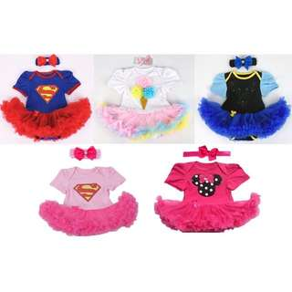 【BABYWEAR】【CLOTHING】 CUTE BABY GIRL SUPERGIRL ICE CREAM ANNA TUTU ROMPER SET