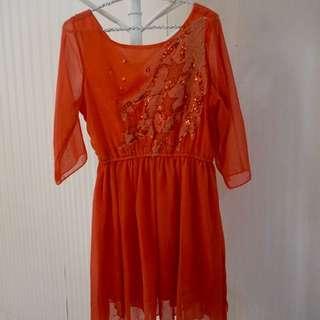 Mini Dress Bangkok Bright Orange Size S