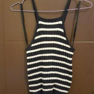 Halter Neck Navy Blue And White Stripe Top