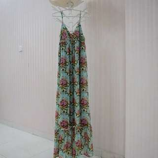 Forever 21 Vintage Flower MaxiDress Hijau Tosca Size S