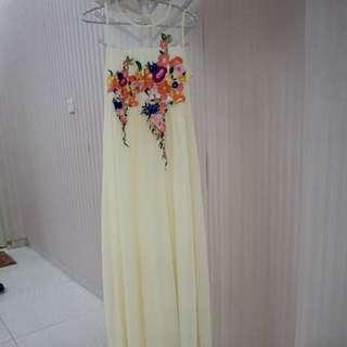 Maxidress Light Yellow Bunga