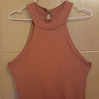 Maroon Halter Neck Dress
