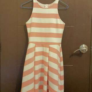 Peach Colored Stripe Dress