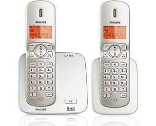 Philips 室內無線電話 CD360 Duo 閃珍珠色