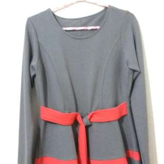 Blouse Grey Strip peach