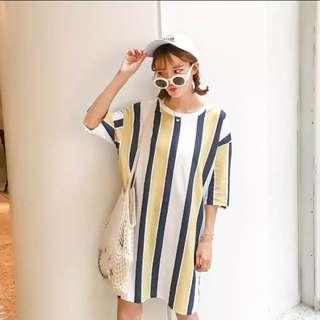 寬鬆藍黃直條紋長版T