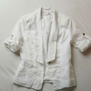 White Short Sleeve Jacket Size 8