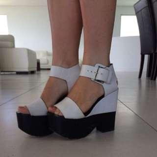 White And Black Siren Heels